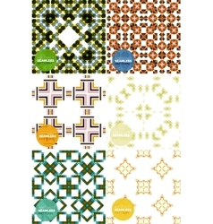 set of colorful seamless geometric patterns vector image vector image