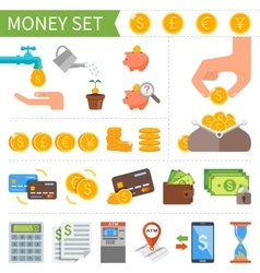Set of money and finance icons in flat vector