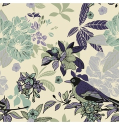 Silk flowers and birds seamless pattern vector image