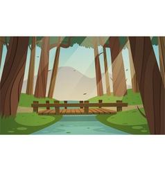 Small wooden bridge in the woods vector image vector image
