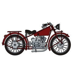 Vintage red motorcycle vector image vector image