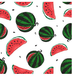 Water melon seamless pattern isolated on white vector