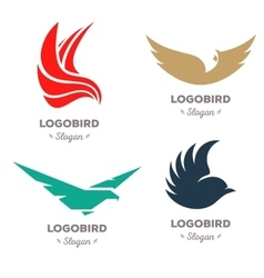 Isolated colorful flying birds logo set vector