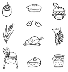 Hand draw thanksgiving object on doodles vector