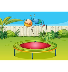 A boy jumping on a trampoline vector image