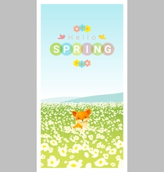Hello spring landscape background with fox vector