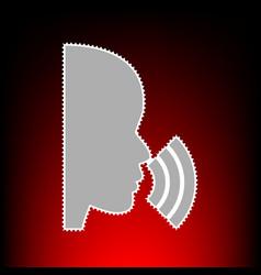 people speaking or singing sign postage stamp or vector image