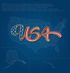 Usa flag caligraphic text over map vector