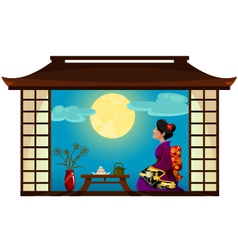 woman watching the moon vector image
