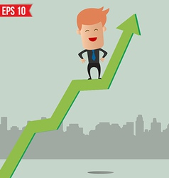 Cartoon businessman hanging on graph - - eps vector