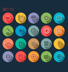 Round thin icon with shadow set 13 vector