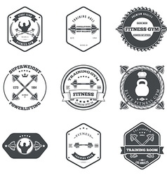 Fitness and gym themed label design set elements vector