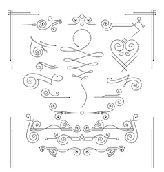 Set of elegant curls and swirls elements vector