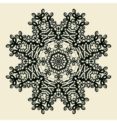 Outlined mandala print stylized oriental lace vector