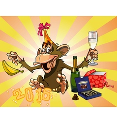 Cartoon funny monkey celebrates 2016 vector