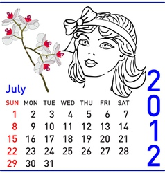 2012 year calendar in july vector