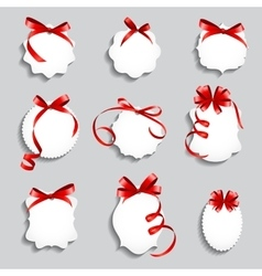 Price tags with red bows and ribbon set paper vector