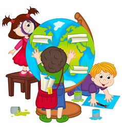 children make globe vector image