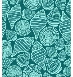 Dark seamless background with seashells vector