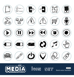 Media and communication web icons set vector image
