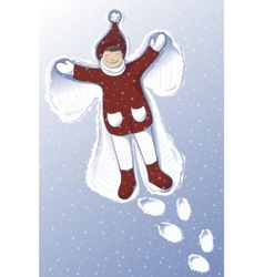 A cute girl making snow angel vector