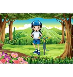 A girl and her bike in the middle of the forest vector image