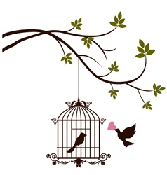 bird are bringing love to the bird in the cage vector image vector image