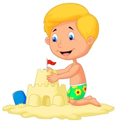 Cartoon boy making sand castle vector