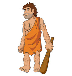caveman holding a club vector image