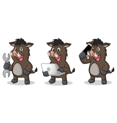 Dark Brown Wild Pig Mascot with laptop vector image