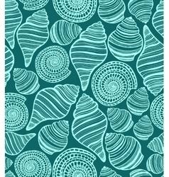 dark seamless background with seashells vector image