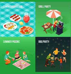 Family picnic isometric concept vector