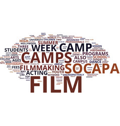 Film camp text background word cloud concept vector