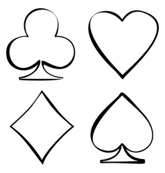 Four card suits cards deck vector