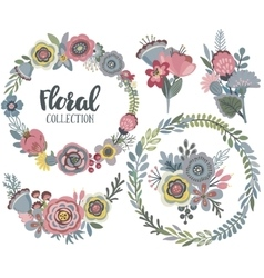 graphic set with beautiful flowers floral vector image