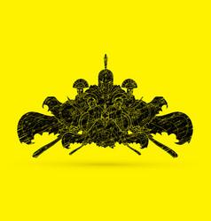 group of spartan warriors roman helmet vector image