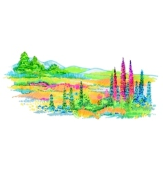 Hand drawn flowers and trees on meadow vector image
