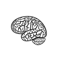 Isolated black and white brain contour logo vector
