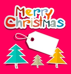 Merry Christmas Colorful Paper Cut Title with vector image