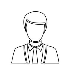 Monochrome half body silhouette man faceless vector