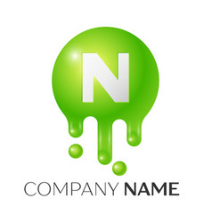 n letter splash green dots and bubbles letter vector image vector image