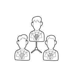 Office team icon in outline style vector