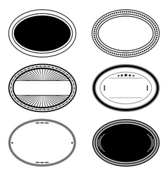 Oval stamp set vector