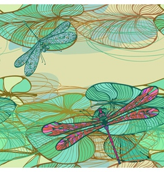 Pattern with lotus leaves and dragonflies vector image