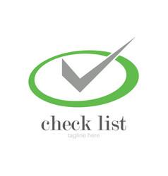 round green check logo vector image