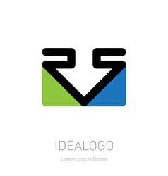 RS logo Logotype template with arrow and triangles vector image vector image