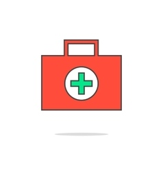 simple red medical suitcase vector image vector image