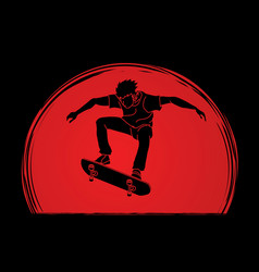Skateboarder jumping vector