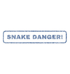 Snake danger exclamation textile stamp vector