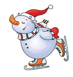 snowman skate vector image vector image